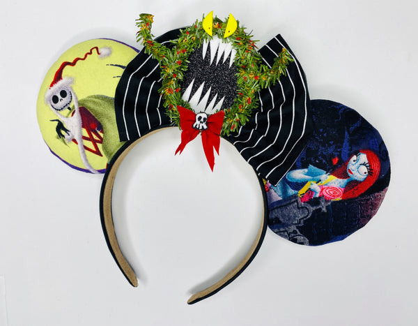 Nightmare Before Christmas Ears with Wreath