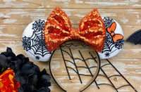 White Spider web Mickey and Minnie Ears