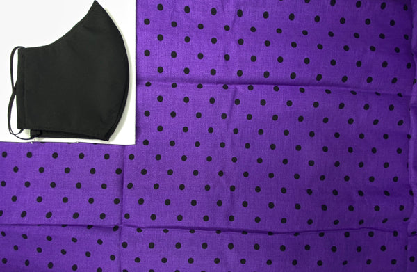 Purple and black polka dot Face Mask