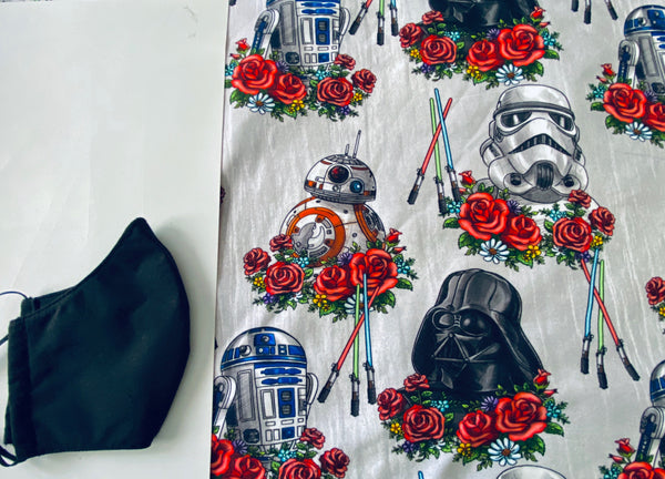 Gray Floral Star Wars Face Mask