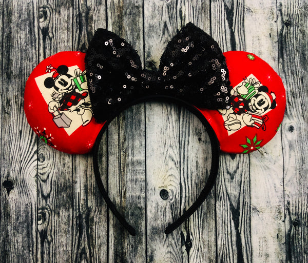 Mickey and Minnie red Christmas Ears