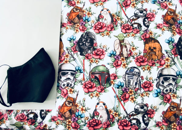 White Floral Star Wars Face Mask (1.0)