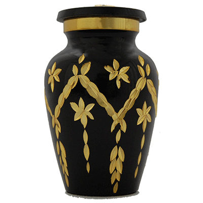 Keepsake Cremation Urn, Black & Gold Filigree Patterned - Funeral Memorial - Small