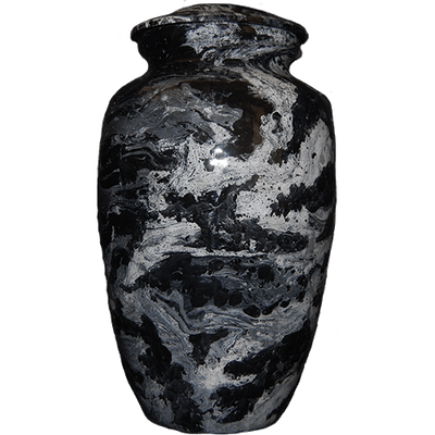 Black Sky Marble Finish Cremation Metal Urn - Adult