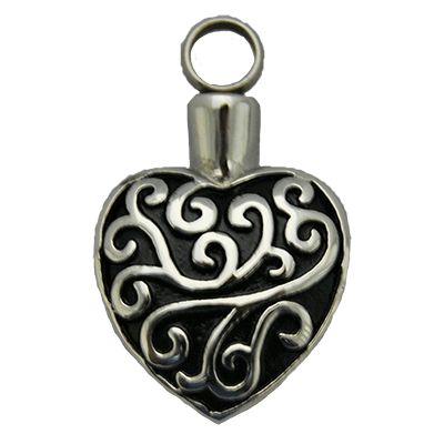 Black and Silver Vine Heart Memorial Jewelry