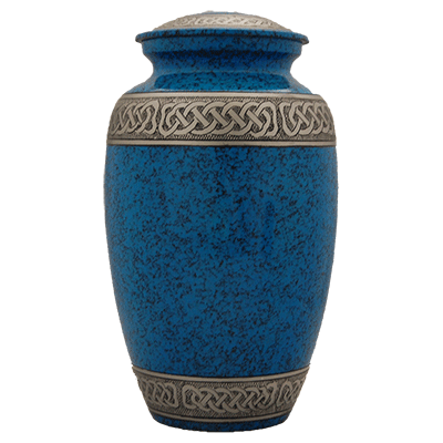 Blue Filigree with Silver Accent Adult Cremation Urn