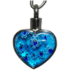 Blue Floral Heart Memorial Jewelry