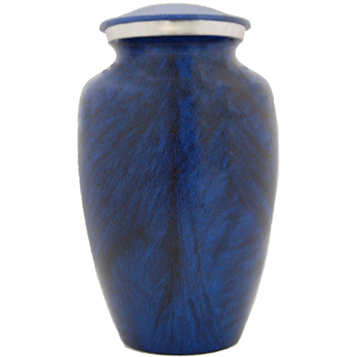 Blue / Black with Silver Accent Lid Cremation Metal Urn - Adult