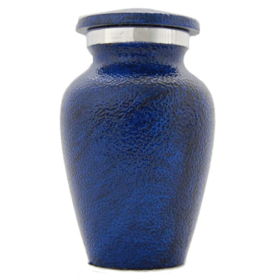 Keepsake Cremation Urn, Deep Blue Tiger Pattern - Small Funeral Memorial