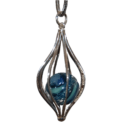 Dark Blue Caged Pendant Ash-Infused Glass Jewelry