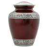 Dark Red with Silver Leaf Accent Cremation Metal Urn - Adult