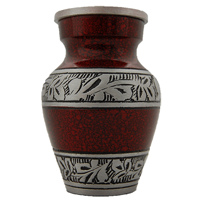 Cremation Keepsake Urn, Dark Crimson with Silver Leaf Accent  - Small Memorial