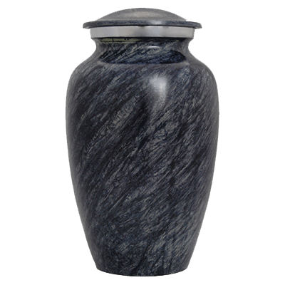 Black Stone with Silver Accent Cremation Metal Urn - Adult