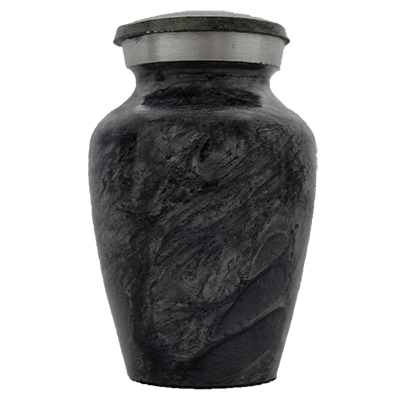 Cremation Keepsake Urn, Dark Stone with Silver Accent - Small Funeral Memorial