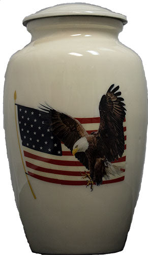American Bald Eagle With Flag Adult Cremation Urn