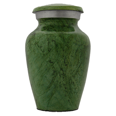 Keepsake Cremation Urn, Earth Stone Green/Silver Accent- Small