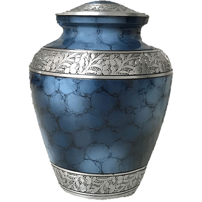 Elite Blue /Silver Leaf Accent Cremation Metal Urn - Adult