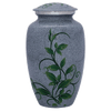 Cremation Metal Urn, Grey/Blue Green Vine, Marble Finish -Adult