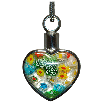 Colorful Floral Heart Memorial Jewelry