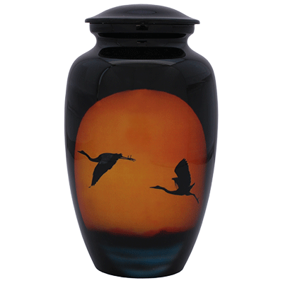 Cremation Metal Urn, Going Home - Black/Orange Sunset - Adult