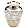 Cremation Metal Urn, Gold Mother-of-Pearl - Adult Funeral Memorial