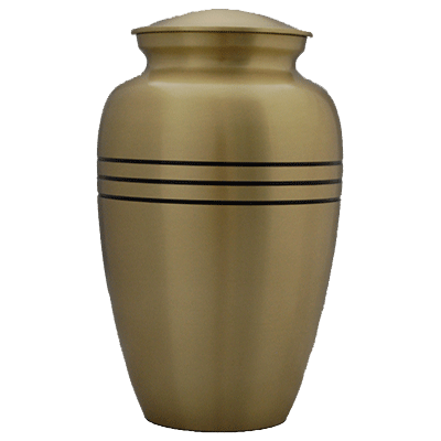 Gold with Black Stripe Adult Cremation Urn