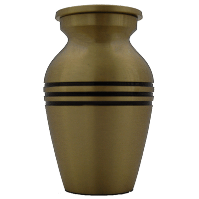 Cremation Keepsake Urn, Classic Gold With Black Triband - Small Funeral Memorial