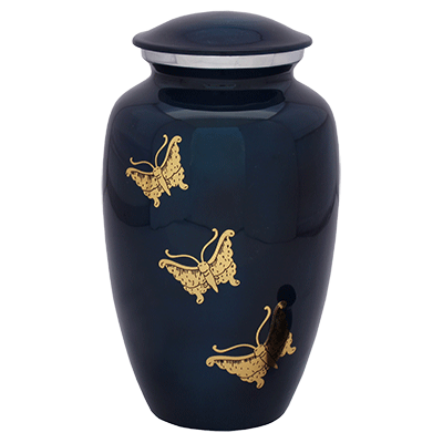 Dark Blue with Golden Butterflies Adult Cremation Urn