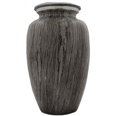 Cremation Metal Urn, Light Granite Finish/Silver Lid - Adult