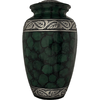 Dark Green Filigree/Silver Flower Accent Cremation Metal Urn - Adult