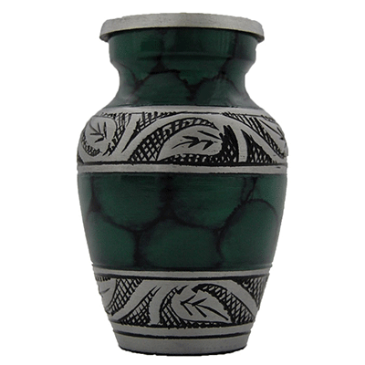 Cremation Keepsake Urn, Dark Green Filigree/Silver Flower Accent-Small Memorial