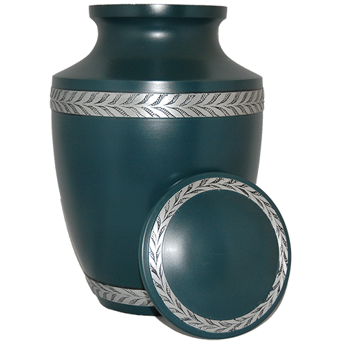 Green Matte With Silver Filigree Band Urn