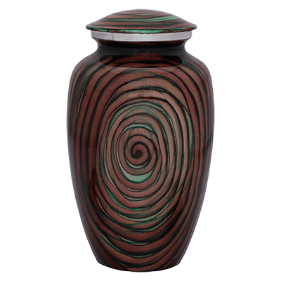 Hypnotic Spiral Multi Color Adult Cremation Urn
