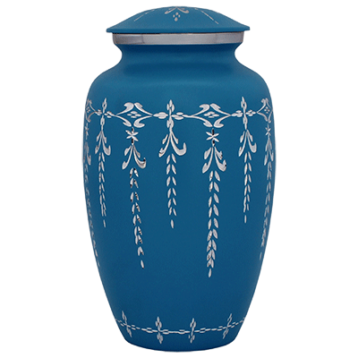Cremation Urn Metal, Ice Blue Filigree Textured - Adult Funeral Memorial