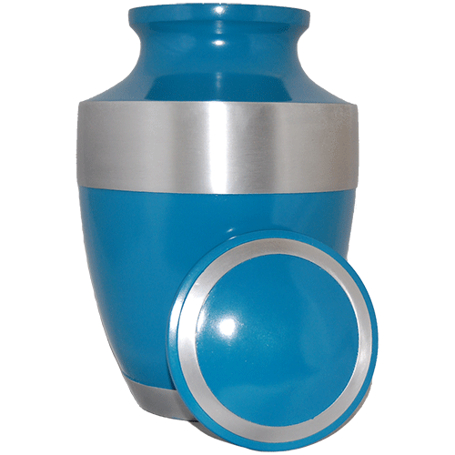 Cremation Metal Urn, Light Blue Matte With Silver Band - Adult