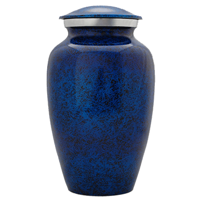 Cremation Metal Urn, Ocean Blue with Silver Accent - Adult Funeral Memorial