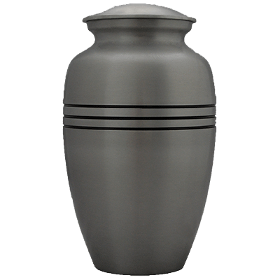 Cremation Metal Urn, Silver with Black Stripe - Adult