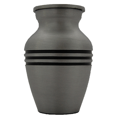 Keepsake Cremation Urn, Pewter with Black Triband - Small