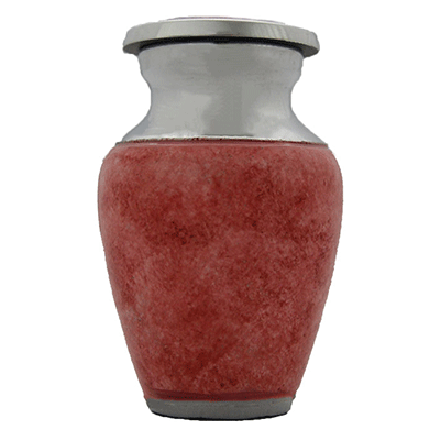 Keepsake Cremation Urn, Sunset Pink Textured/Silver Accent - Small