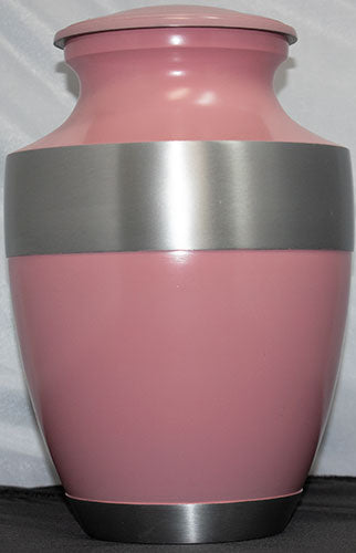 Pink Matte With Silver Band Adult Cremation Urn