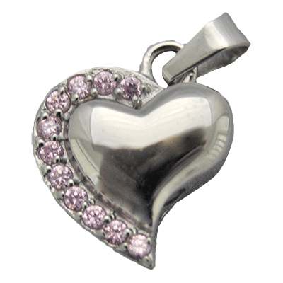 Pink Cuffed Heart Memorial Jewelry