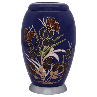 Blue Floral with Silver Base Accent Cremation Metal Urn - Adult