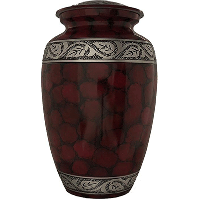 Cremation Metal Urn, Red Filgree/Silver Leaf Accent - Adult Funeral Memorial