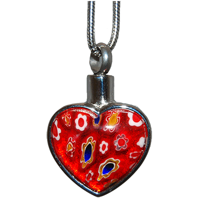 Red Floral Heart Memorial Jewelry