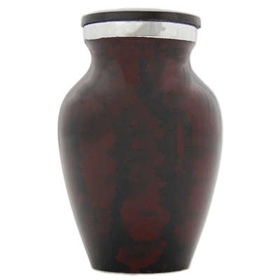 Keepsake Cremation Urn, Red/Black Leopard with Silver Accent - Small