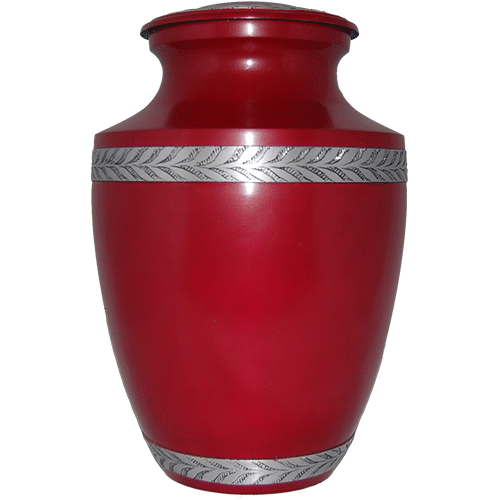 Cremation Metal Urn, Red Matte With Silver Filigree Band - Adult
