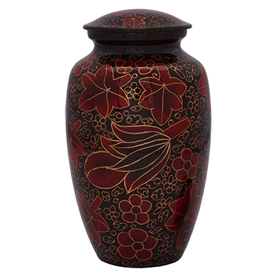 Cremation Urn Metal, Red and Gold Leaf Pattern - Adult Funeral Memorial