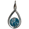 Light Blue Ringed Pendant Ash-Infused Glass Jewelry
