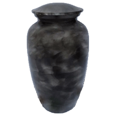 Black Smoke with Silver Accent Cremation Metal Urn - Adult