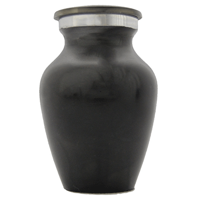 Keepsake Cremation Urn, Black Smoke with Silver Accent - Small Funeral Memorial